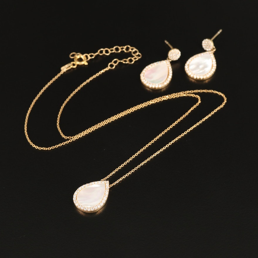 Sterling Silver Mother of Pearl and Cubic Zirconia Teardrop Shaped Jewelry Set