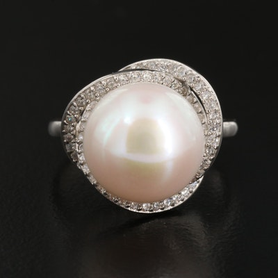 Sterling Silver Pearl and Cubic Zirconia Crossover Ring
