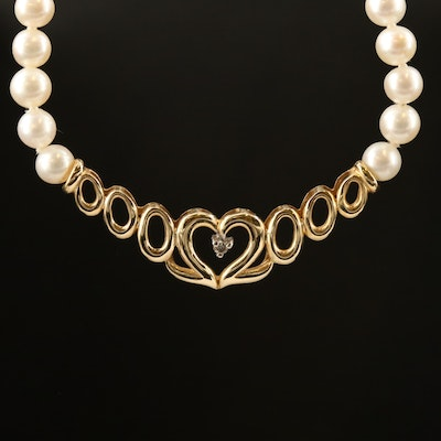14K Oval Pearl and Round Brilliant Diamond Heart Necklace