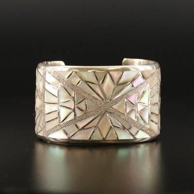 Nicholas & Theresa Leekela Zuni Sterling Silver Mother of Pearl Cuff