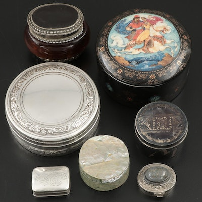 Trinket, Pill Boxes, and Music Box Including Sterling Silver