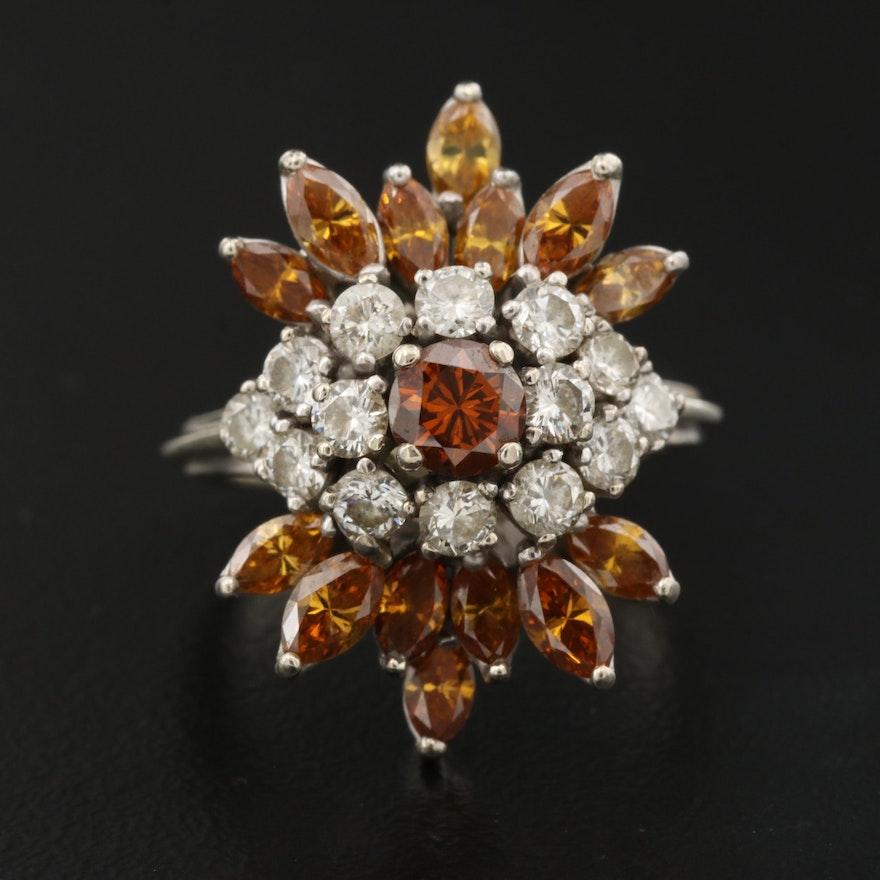 14K 3.42 CTW Diamond Cluster Ring