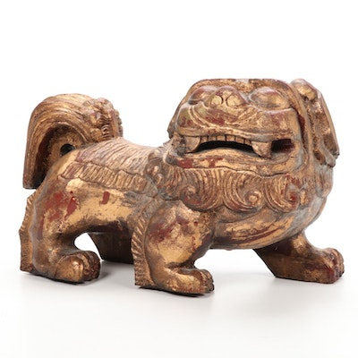 Carved Wood Chinese Guardian Lion, 20th Century