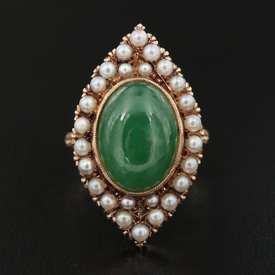 Vintage 14K Jadeite and Pearl Navette Ring with GIA Report