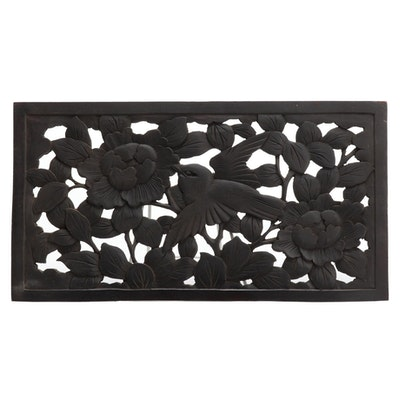 Chinese Architectural Element Carved Wood Panel with Bird and Floral Motif