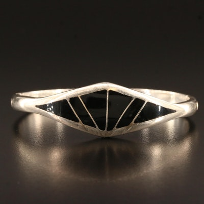 Mexican Sterling Silver Oval Hinged Bangle Featuring Glass Inlay Design