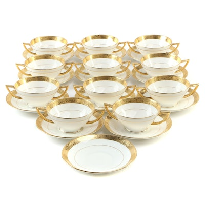 Minton Gilt Encrusted Porcelain Double-Handle Soup Cups and Saucers