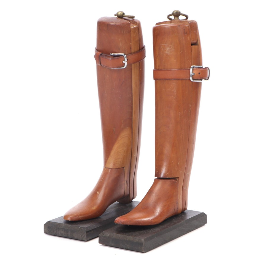 Wood and Leather Equestrian Boot Forms