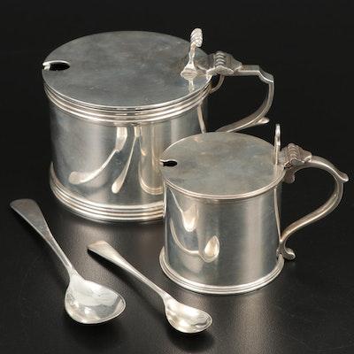 English Sterling Silver and Cobalt Glass Master Salt and Salt Cellar