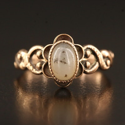Antique 10K Agate Ring with Scrollwork Shoulders