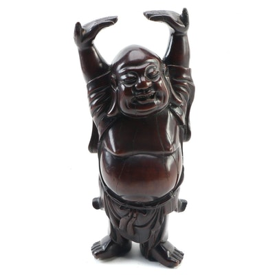 "Japanese Polished Wooden ""Hotei"" Happy Buddha Figure"