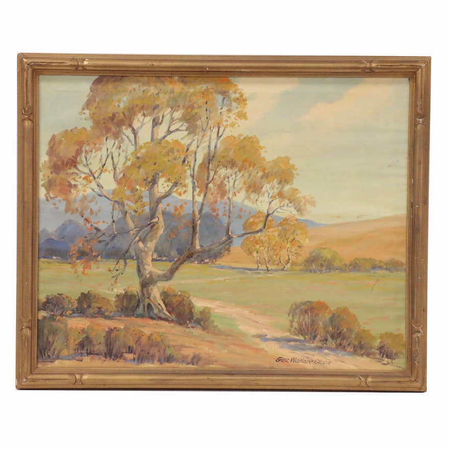 George W. Olson Impressionist Style Landscape Oil Painting, Early 20th Century