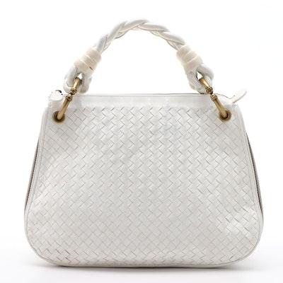 Bottega Veneta Intrecciato Woven White Leather Hobo Bag with Braided Handle