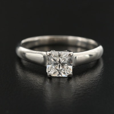 """Tiffany & Co. """"Lucida"""" Platinum 0.88 CT Solitaire Ring with Certificate"""