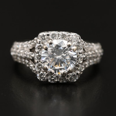 14K Diamond Halo Ring with Cubic Zirconia Center