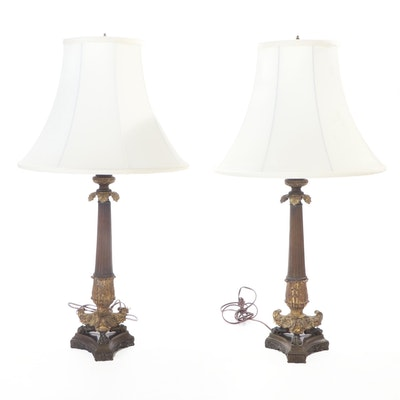 Pair of French Empire Style Parcel Gilt Metal Columnar Table Lamps