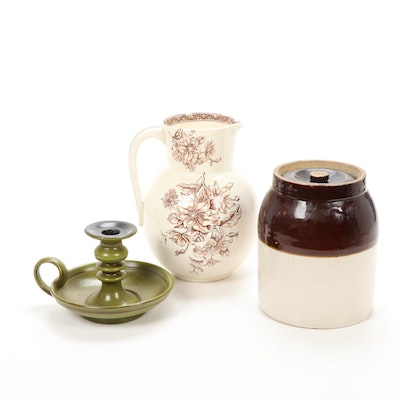 Transferware Pitcher, Stoneware Crock and Haegar Candleholder