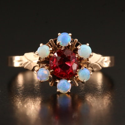 Victorian 10K Garnet Glass Doublet and Opal Ring