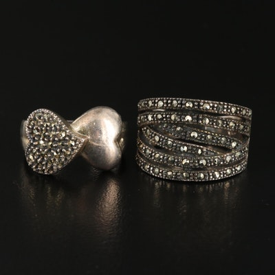 Sterling Silver Marcasite Accented Rings Including Judith Jack Ring