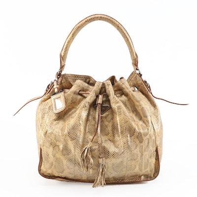 Prada Dyed Python Hobo Bag with Tassels in Metallic Gold