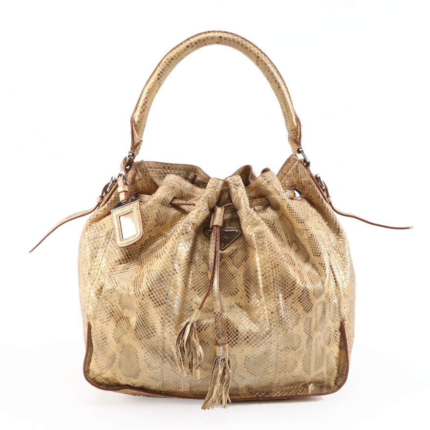 Prada Dyed Python Hobo Bag with Tassels in Metallic Gold