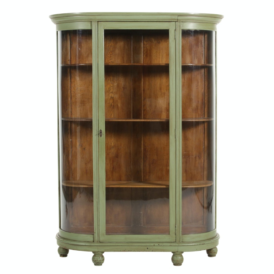 Painted Oak Curved Front Display Case, Early 20th Century