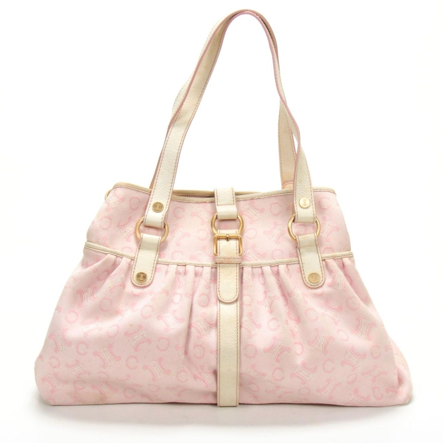 Celine Logo Canvas and White Grained Leather Trimmed Hobo Bag