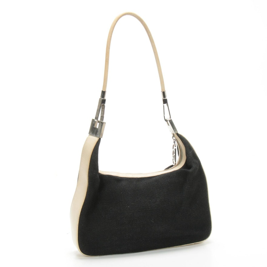 Gucci Black Canvas and Off-White Leather Trim Shoulder Bag