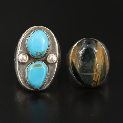 Southwestern Style Sterling Silver Turquoise and Smoky Quartz Rings