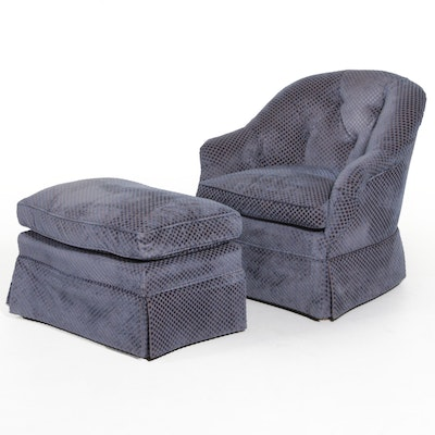 Button Tufted Armchair and Ottoman with Kravat Couture Upholstery, 21st Century