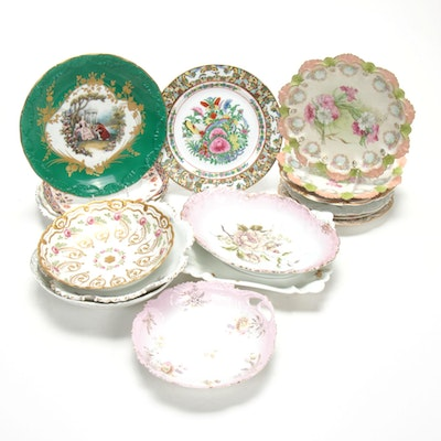European Porcelain and Bone China Plates and Serveware, Late 19th/Early 20th C.