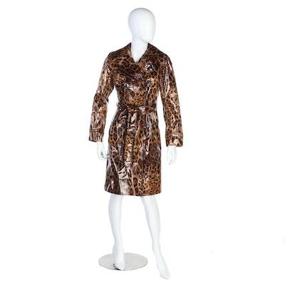 Dolce & Gabbana Trench Coat in Leopard Print Vinyl Covered Silk