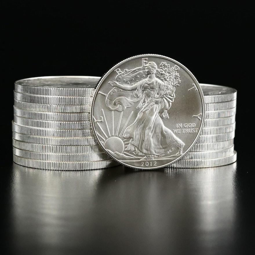 Mint Roll of Twenty 2012 American Silver Eagle Bullion Coins