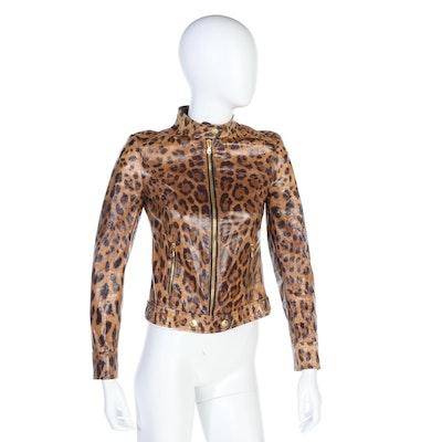 Dolce & Gabbana Dyed Sheepskin Jacket in Leopard Print
