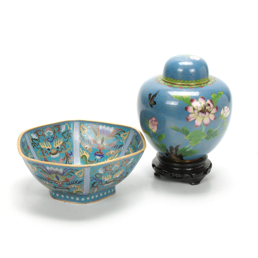 Chinese Cloisonné Urn and Decorative Bowl, Mid to Late 20th Century