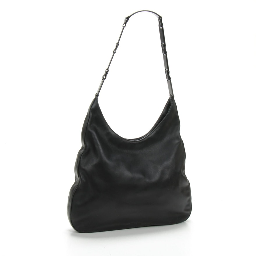 Prada Black Leather Shoulder Bag with Panel Link Strap