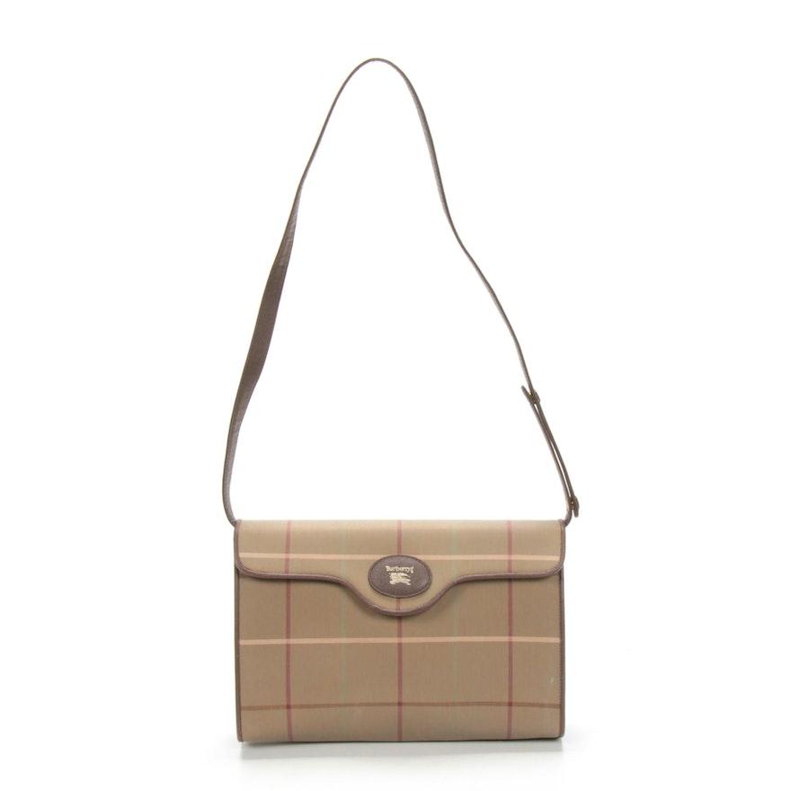 'Burberrys' Plaid Canvas Shoulder Bag with Cross Grain Leather Trim, Vintage