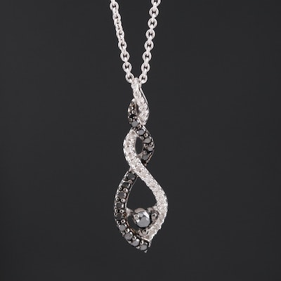 Sterling Silver Diamond Twist Pendant Necklace