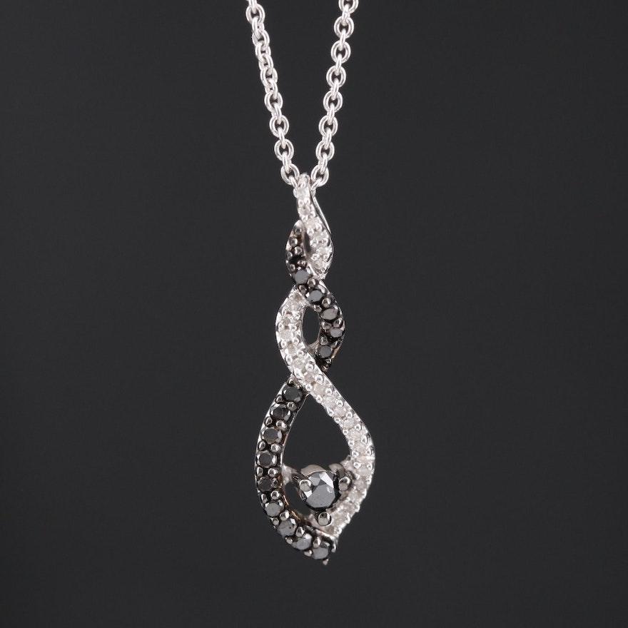 Sterling Silver Diamond Twist Pendant Necklace