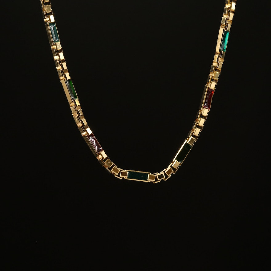 14K Red and Green Glass Inlay Necklace Featuring Box Chain Design