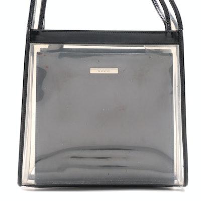 Gucci 2-in-1 Transparent Shoulder Tote with Black Box Calf Leather Handbag