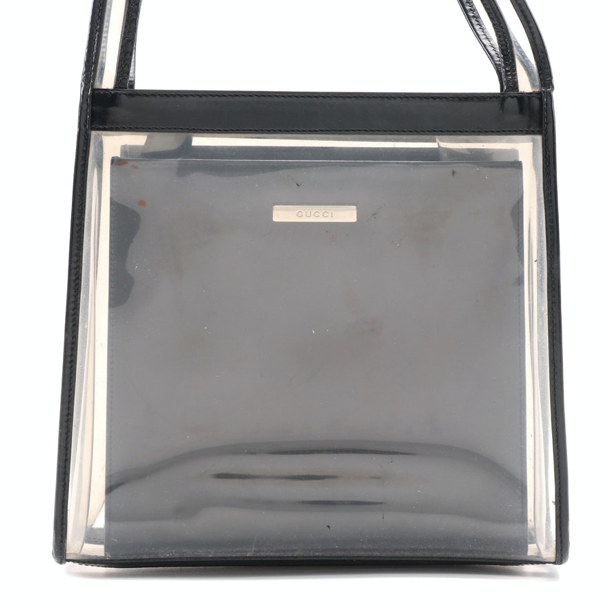 Gucci 2-in-1 Transparent Shoulder Tote with Black Box Calf Leather Handbag