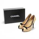 Chanel High Heel Peep-Toe Pumps in Beige Leather with Black Bow and Trim