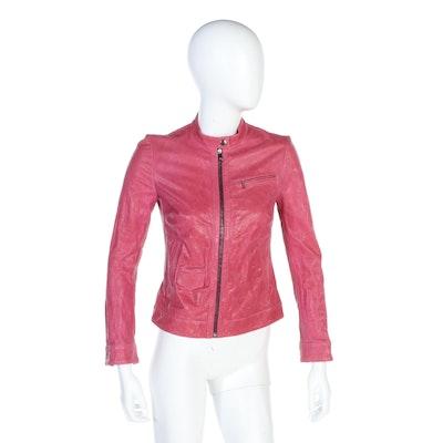Dolce & Gabbana Lambskin Leather Jacket in Fuchsia