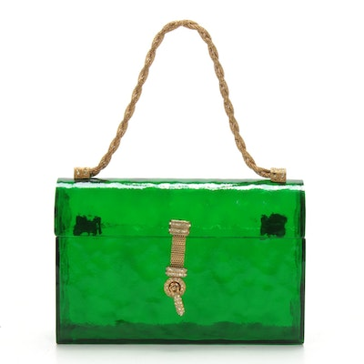 Delill Green Acrylic Box Purse with Twisted Gold Tone Link Metal Handle, 1967