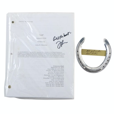 """John Perrotta Signed """"LUCK"""" Script with a David Milch Signed Horse Shoe"""