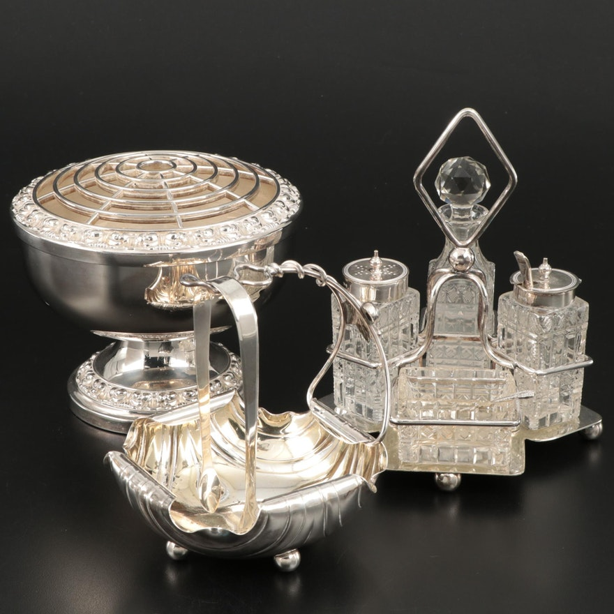 English Sterling Silver Tongs and Other Silver Plate Tableware