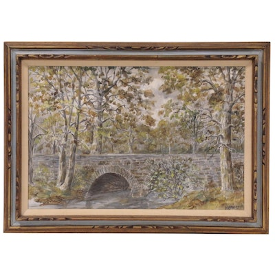 Landscape with Stone Bridge Oil Painting, Late 20th Century