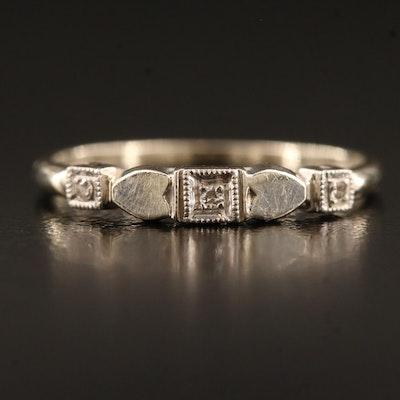 Vintage 14K Diamond Ring with Palladium Top