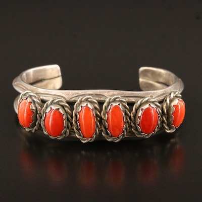 Handmade Southwestern Style Sterling Silver Coral Cuff
